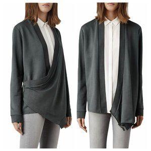 AllSaints Irina Gray Low Slung Side Zip Cardigan M